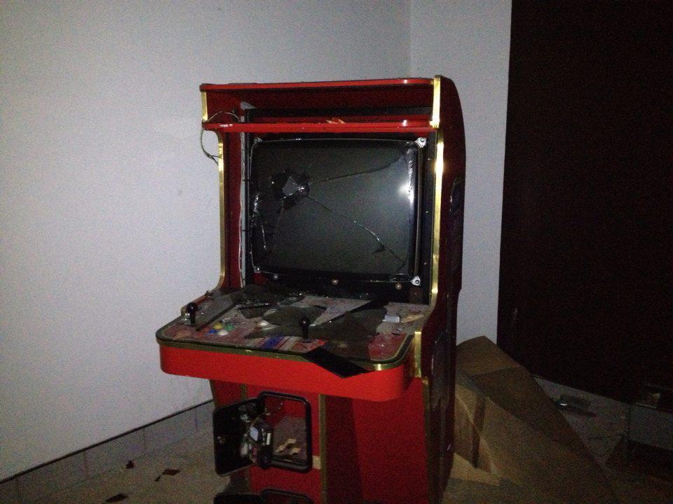 Automat von Mutwilligen zerstört.
